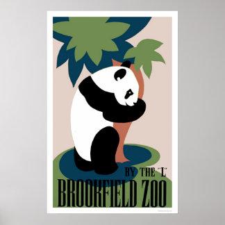 Panda Loves Tree At Zoo 1938 WPA Poster