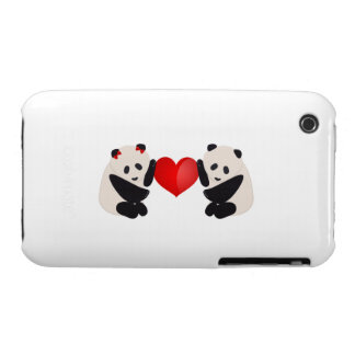 Panda Male and Female with heart iPhone 3 Cover