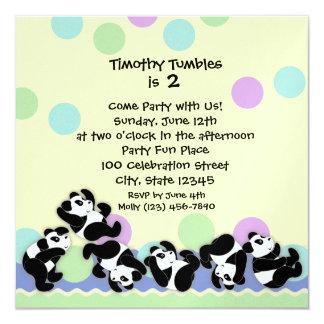 "Panda Mania 5.25"" Square Invitation Card"