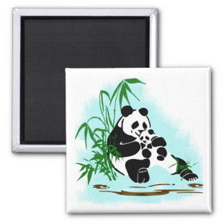 Panda Momma and Baby 2 Inch Square Magnet