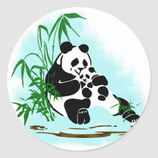Panda Momma and Baby Classic Round Sticker