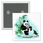 Panda Momma and Baby Pinback Buttons