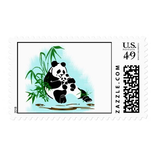 Panda Momma and Baby Postage Stamp