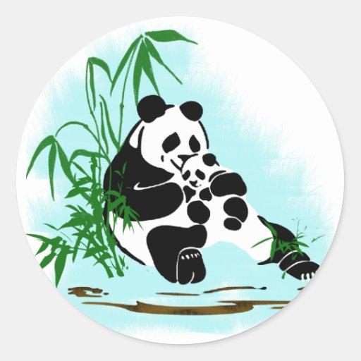 Panda Momma y bebé Pegatinas Redondas