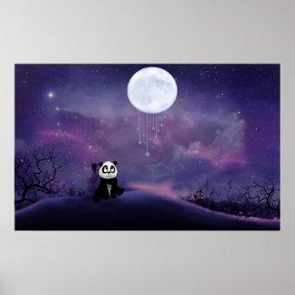 Panda Moon Poster