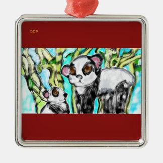 Panda mother and cub metal ornament