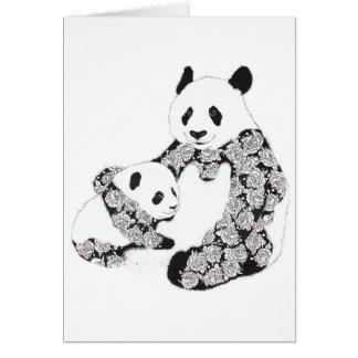 Panda Mother & Baby Cub Illustration Card