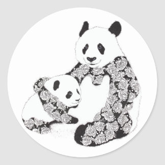 Panda Mother & Baby Cub Illustration Classic Round Sticker