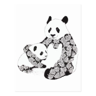 Panda Mother & Baby Cub Illustration Postcard