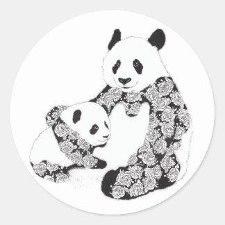 Panda Mother & Baby Cub Illustration Round Stickers