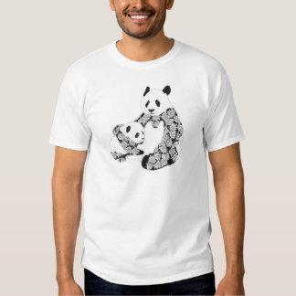Panda Mother & Baby Cub Illustration T Shirt