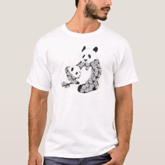 Panda Mother & Baby Cub Illustration T-Shirt