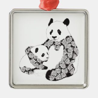 Panda Mother & Baby Cub Square Metal Christmas Ornament