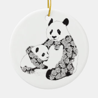 Panda Mother & Baby Cub Double-Sided Ceramic Round Christmas Ornament
