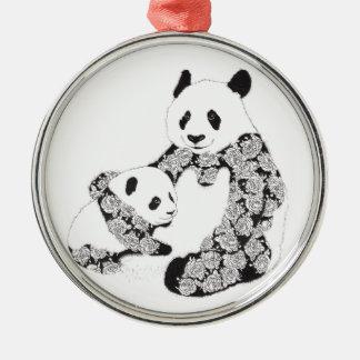 Panda Mother & Baby Cub Round Metal Christmas Ornament