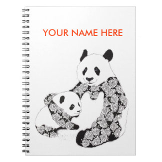 Panda Mother & Baby Cub Spiral Note Book
