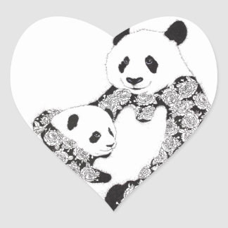 Panda Mother & Baby Cub Heart Sticker