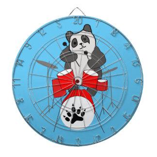 panda musician dartboard with darts