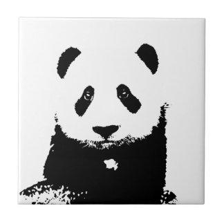 Panda negra y blanca azulejo cuadrado pequeño