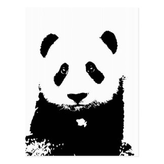 Panda negra y blanca tarjeta postal
