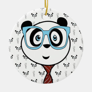 Panda Nerd Ceramic Ornament