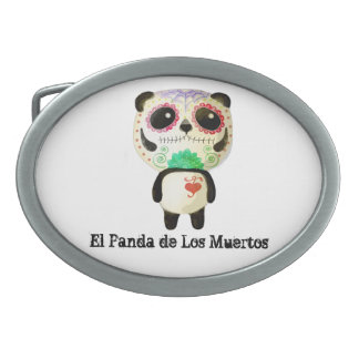 Panda of The Day of The Dead Oval Belt Buckle