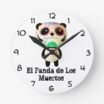 Panda of The Day of The Dead Round Clock