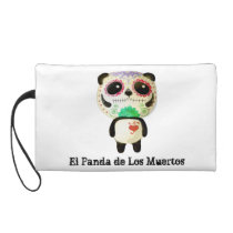 Panda of The Day of The Dead Wristlet Purse