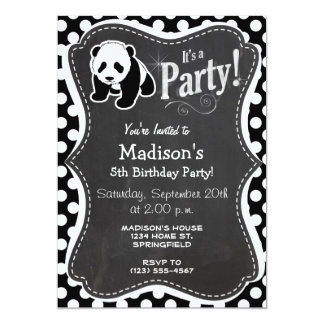 Panda on Black and White Polka Dots 5x7 Paper Invitation Card
