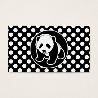 Panda on Black and White Polka Dots Business Card