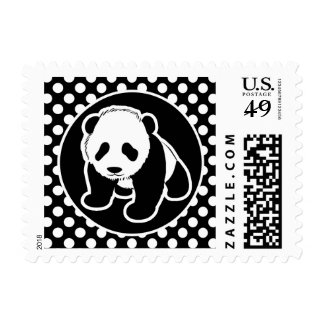 Panda on Black and White Polka Dots Postage