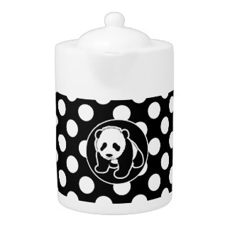 Panda on Black and White Polka Dots