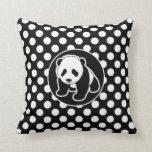 Panda on Black and White Polka Dots Throw Pillow