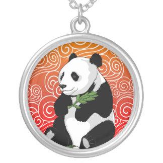 Panda on The Swirl Horizon Round Pendant Necklace