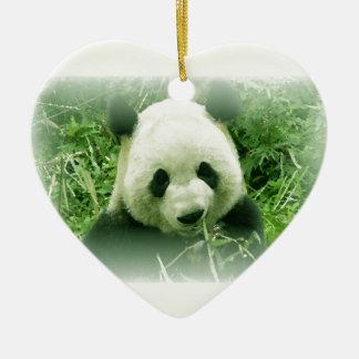 Panda Double-Sided Heart Ceramic Christmas Ornament