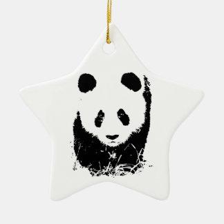 Panda Double-Sided Star Ceramic Christmas Ornament