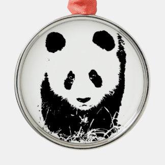 Panda Round Metal Christmas Ornament