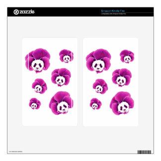Panda Pansies Skins For Kindle Fire