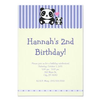 Panda Party Invitation - Purple & Cream