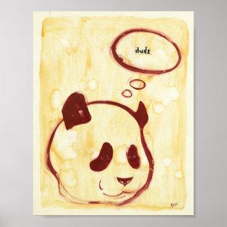 Panda pasada en la tierra impresiones