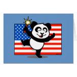Panda patriótica con la bandera americana felicitacion