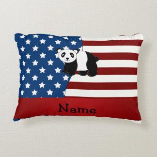 Panda patriótica conocida personalizada cojín