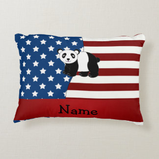 Panda patriótica conocida personalizada cojín decorativo