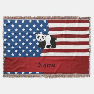 Panda patriótica conocida personalizada manta