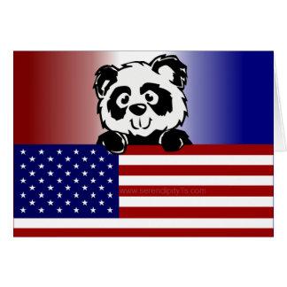 Panda patriótica tarjeta de felicitación