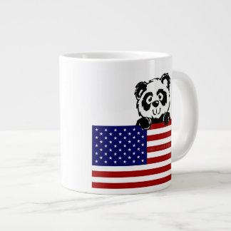 Panda patriótica taza de café grande