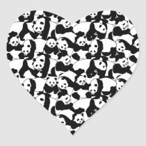 Panda pattern heart sticker