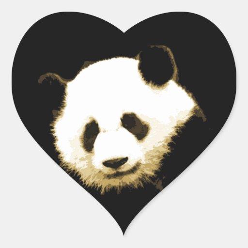 Panda Pegatinas De Corazon
