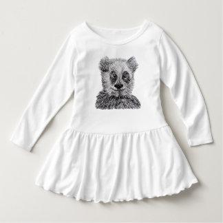 Panda Pencil Drawing Toddler Ruffle Dress, White Dress