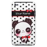 Panda personalizada de Kawaii en lunares negros Case-Mate iPod Touch Carcasa